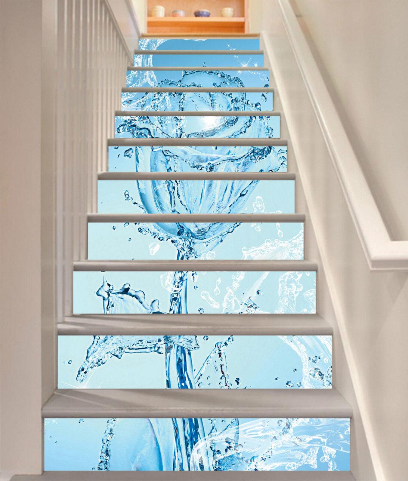 3D Wasser Blaumen 24 Stair Risers Dekoration Fototapete Vinyl Aufkleber Tapete DE