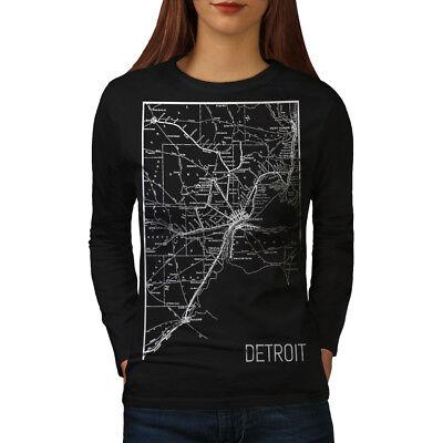 2019 Nuovo Stile Wellcoda Mappa Street Detroit Da Donna Manica Lunga T-shirt, Art Work Casual Design-mostra Il Titolo Originale Rinfrescante E Benefico Per Gli Occhi