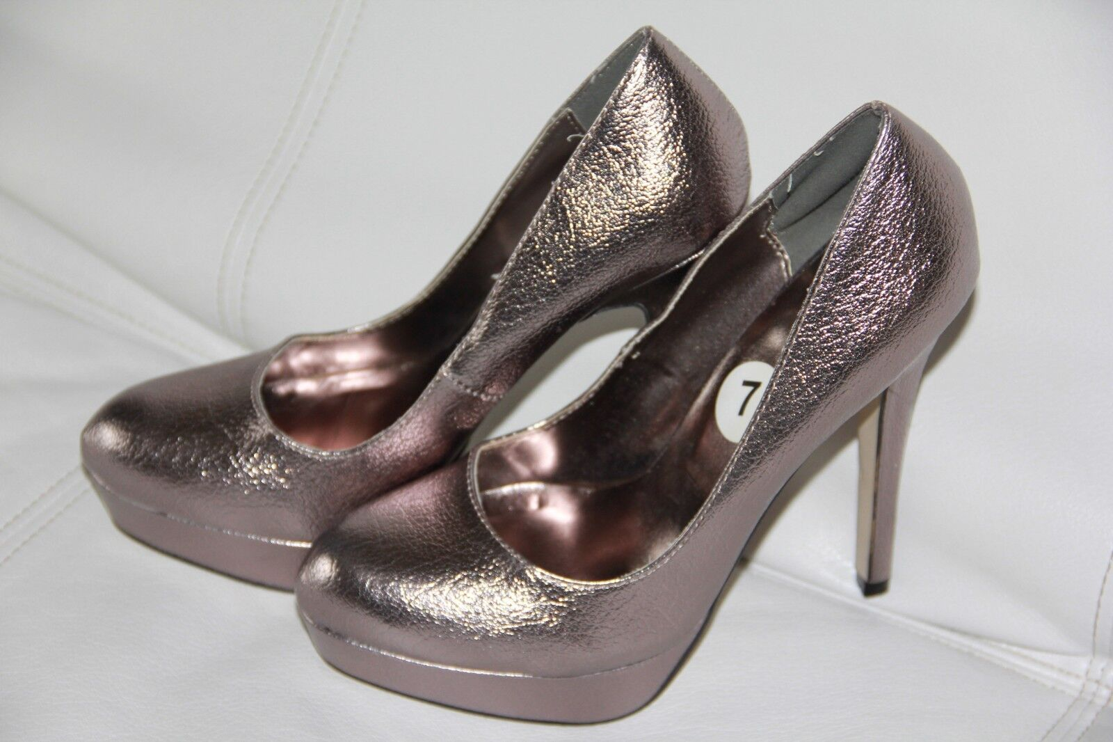 New JOEY Metallic HIGH  Women's Platform Shoes HIGH Metallic Heels  Size 7 55696d