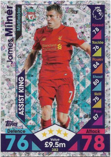 Assist King JAMES MILNER Liverpool 2016 382 2017 EPL Match Attax