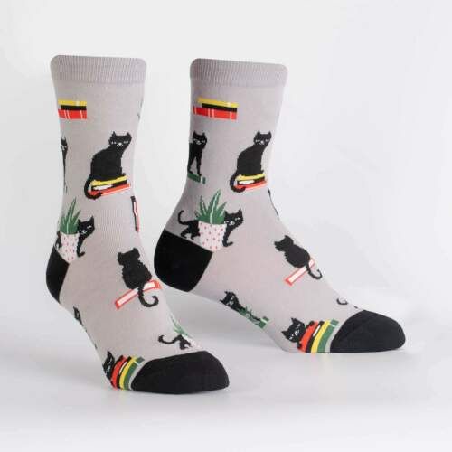 Booked for Meow Sock It To Me Women/'s Crew Socks New Novelty Black Cat Fashion
