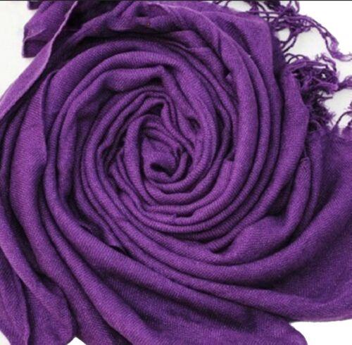 écharpe étole pashmina 70/% et soie 30/% couleur violet fonçé Accessoire mode