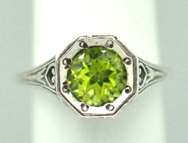 PERIDOTO Art Deco Stile Anello argento 925 stile antico argento sterling