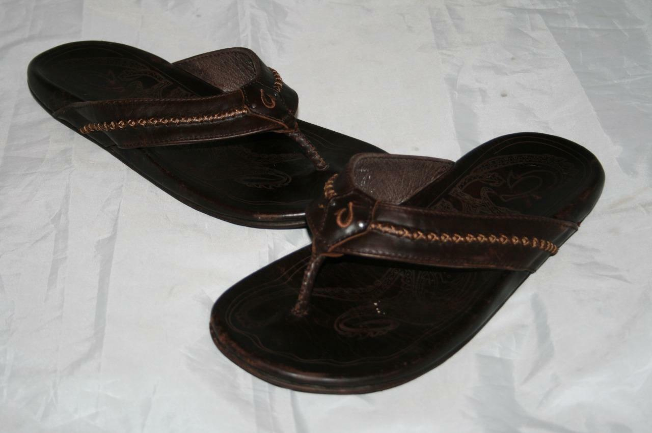 OluKai 'Mea Ola' Mens Flip Flop Brown Leather Sandals Mens 8   120