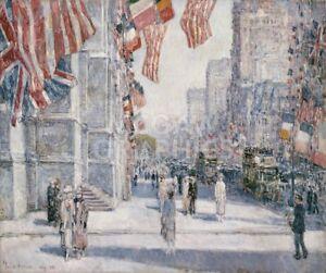 Dynamique Début Petit Matin On The Avenue In May 1917 Par Childe Hassam Art Poster 22x26 Prix Raisonnable