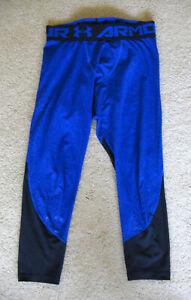 éxtasis Descanso veinte  Para Hombre Under Armour 3/4 lngth Compresión Mallas Pantalón Azul Medio  Correr Atléticos | eBay