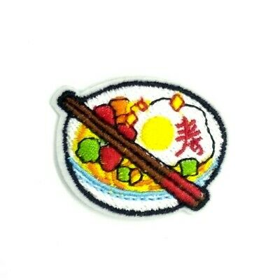 2PC Ramen Noodles Patch Food Sew Iron on Applique Embroidered DIY Jacket Badge