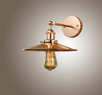 Industrial Retro Vintage Copper Metal Shade Pendant Wall Light Ceiling Fitting