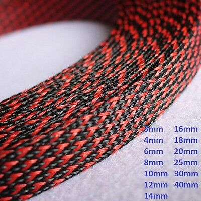 Black+Red 14mm 16mm 20mm 25mm 30mm 40mm 50mm Braided Cable Sleeving Expandable
