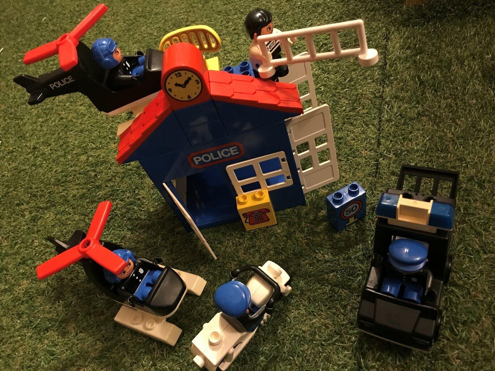 Vintage Lego Duplo POLICE BUNDLE STATION VAN HELICOPTERS BIKE FIGURES Inc ROBBER