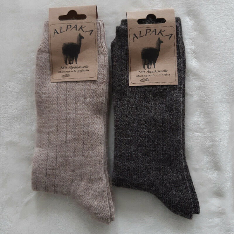 2 Paar Damen Soft Alpaka Socken Naturwarm aus 100% Wolle Braun 35 bis 42