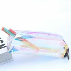Clear-Rainbow-Color-Zip-Pencil-Case-Stationery-Pouch-Cosmetic-Bag-with-Zipper