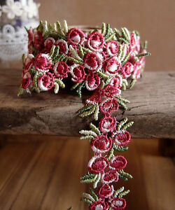 3-4-034-Vintage-Red-Rose-Floral-Embroidered-Crochet-Lace-Trim-Ribbon-5-yards