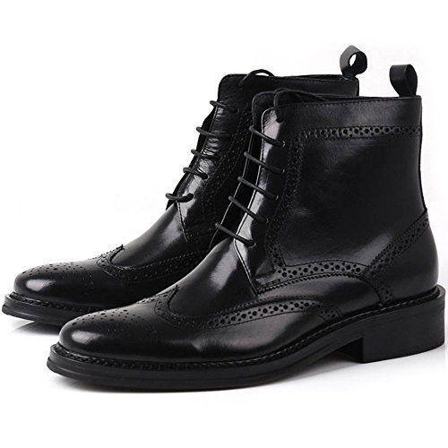 MEN HANDMADE BLACK WINGTIP BOOT BROGUE ANKLE DRESS LEATHER BOOT WINGTIP LACES UP Schuhe f497ec