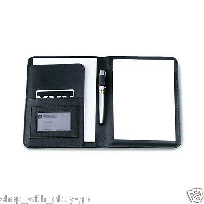 A5 Black Unzipped PU Leather Conference Folder Portfolio W/ Slots Free Notepad