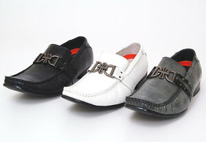 Mens-Dress-Shoes-Slip-On-Buckle-Loafers-Leather-Lined-Black-Gray-White-Casual-NW