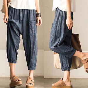Women-Striped-Harem-Jogger-Pants-Casual-Elastic-Waist-Baggy-Loose-Long-Trousers