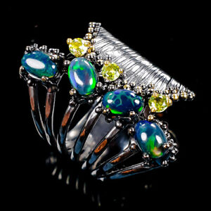 Best-Price-Natural-Black-Opal-925-Sterling-Silver-Ring-Size-9-R112776