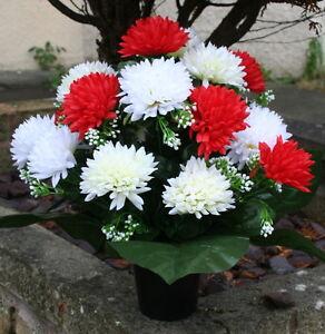 Artificial Spikey Mum Silk Flower Arrangement Cemetery Memorial