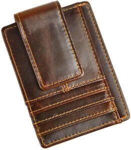 Genuine Leather Magnetic Front Pocket Money Clip Slim Wallet Card Case