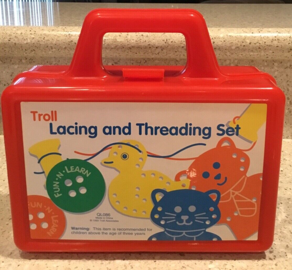 Vintage 1993 The Eagle School Fun and Learn Troll Lacing and Threading Set EUC