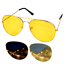 Night Driving Glasses HD Anti Glare Yellow Lens Tinted Pilot style free Pouch