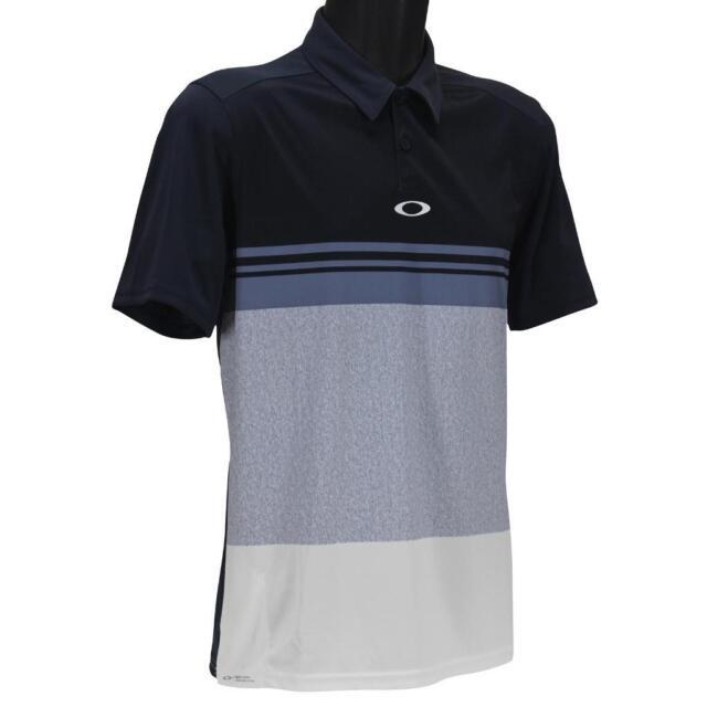 Oakley Color Block Take Polo Mens S Small Fathom Blue Golf Regular Fit Tee Shirt
