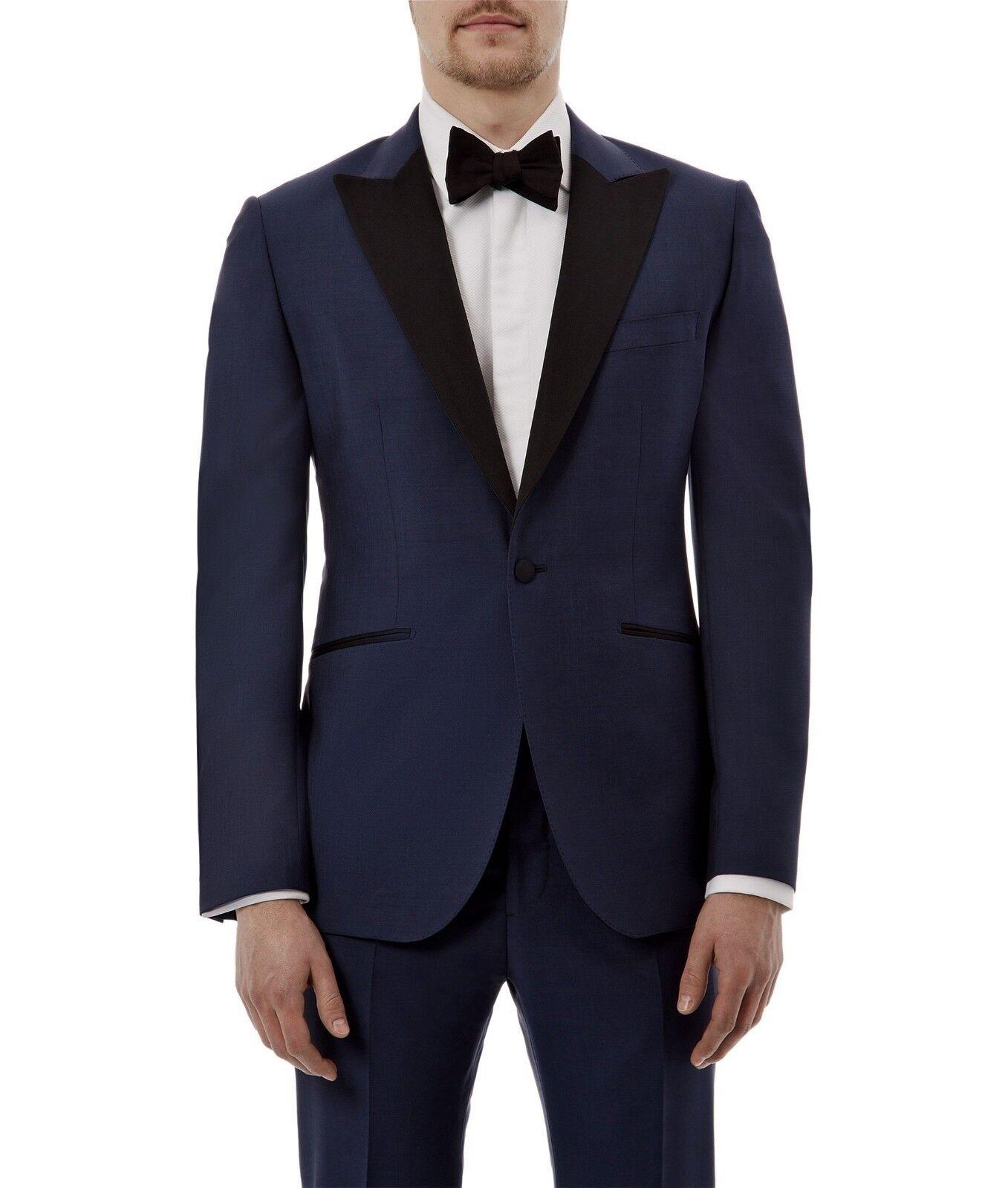 HARDY AMIES Navy Wool MOHAIR Tuxedo Dinner Suit UK40 US40 IT50 C40xW34xL36 NEW  | Klein und fein  | Klein und fein  | Online Outlet Store