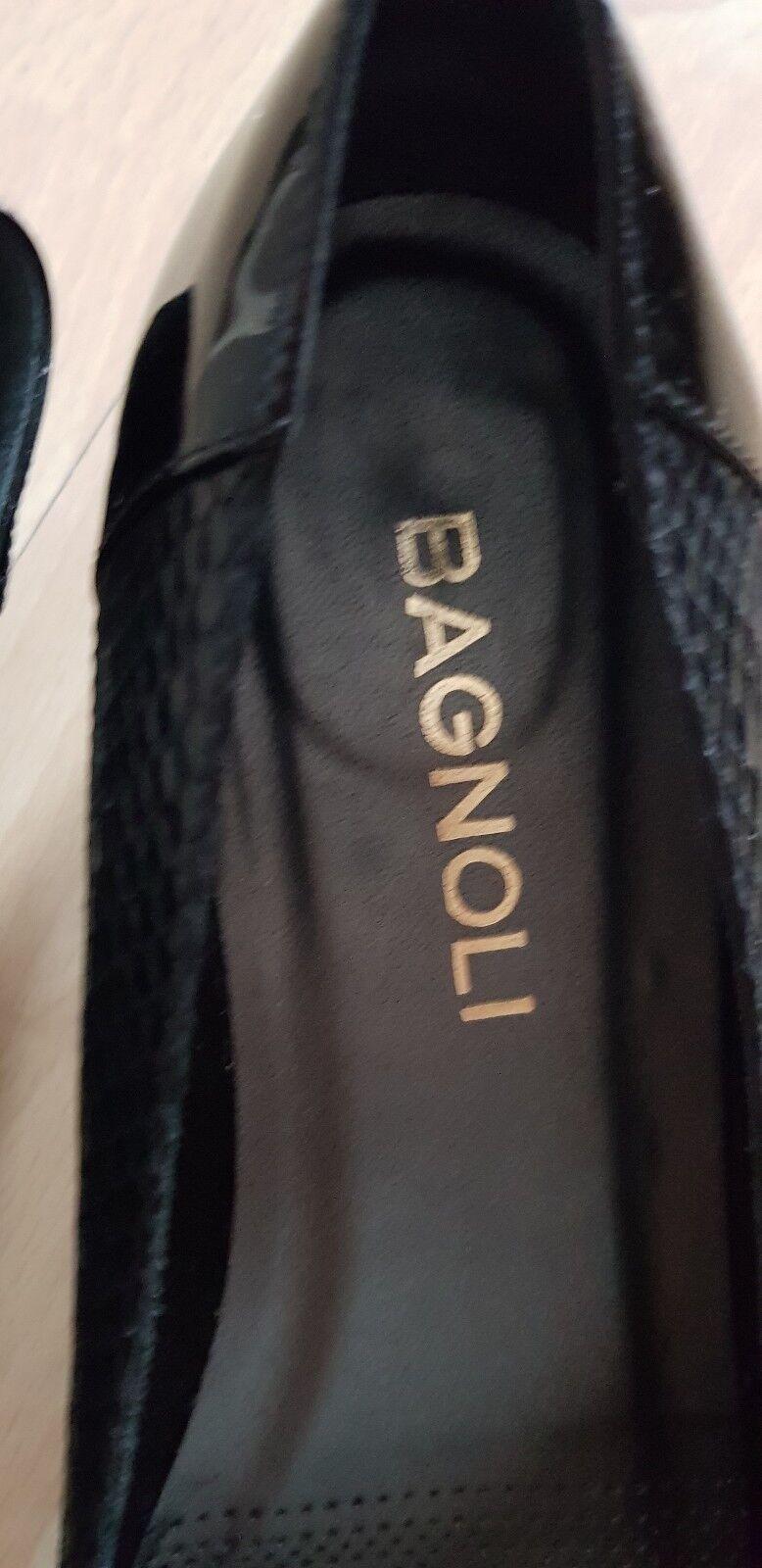 Damen Keilpumps Gr. 38 1/2 Bagnoli schwarz Echt Leder Marke Bagnoli 1/2 52b93e