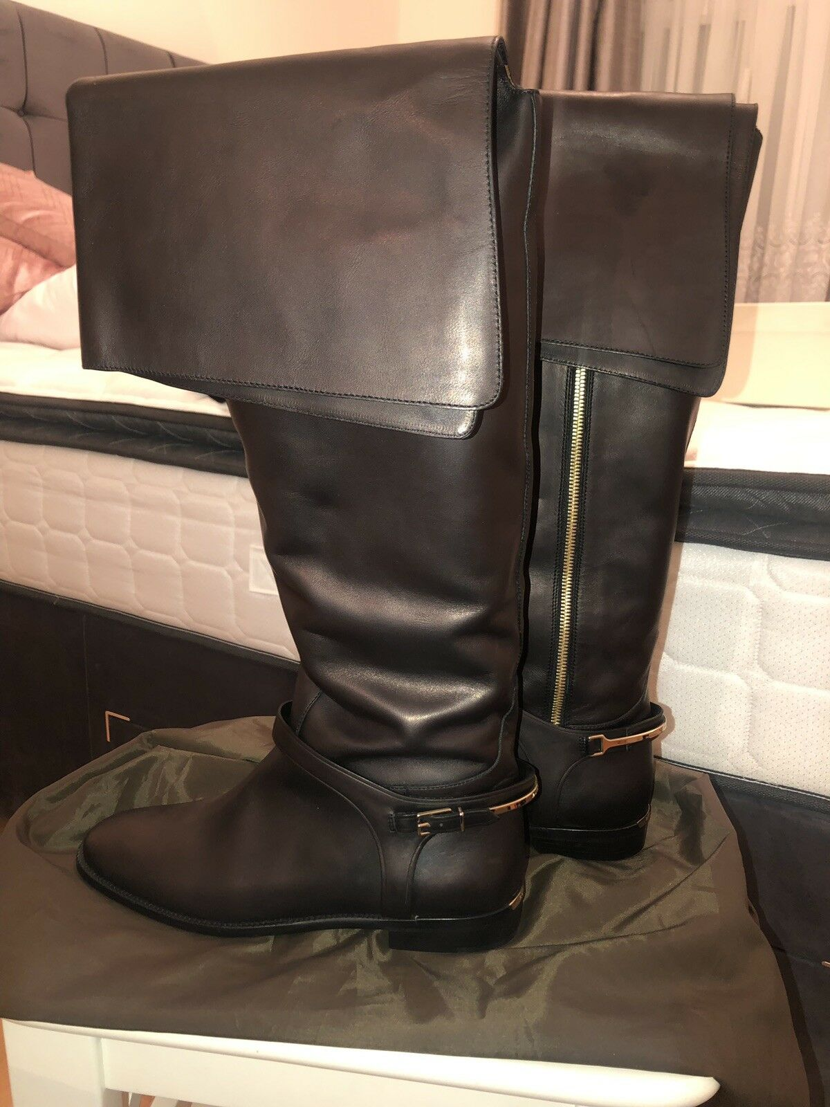 Burberry Leather Over The Knee Boots