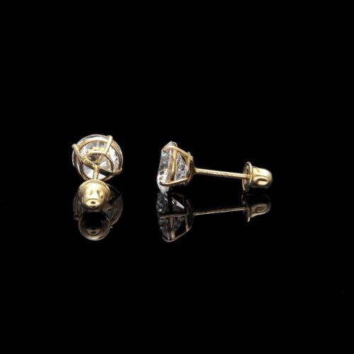 4ct Round Created Diamond Earrings 14K Yellow Gold Solitaire Screwback Studs
