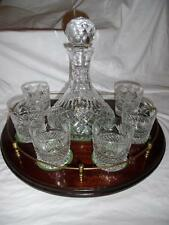 Crystal ships decanter with whisky glasses on galleried mahogany tray