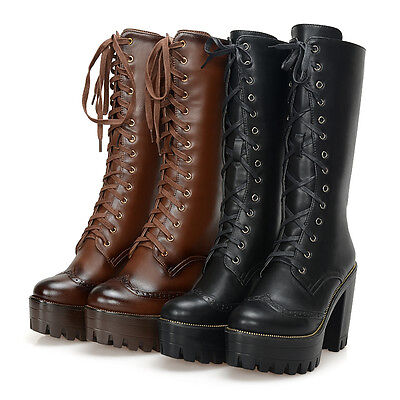 Vintage Womens Chunky High Heel Lace Up Military Motorcycle Mid Calf Boots Shoes