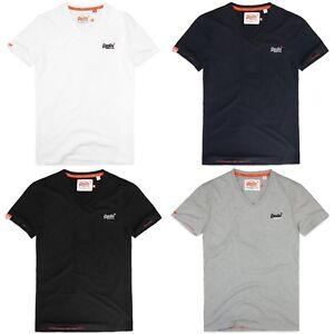 Superdry T-Shirt Hommes Orange Label s//s SHIRT avec broderie et col en V