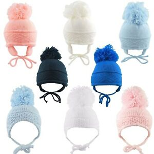 Baby Boys Girls Knitted Bobble Hat Age 0 3 6 Months Pom Pom Spanish Style Winter