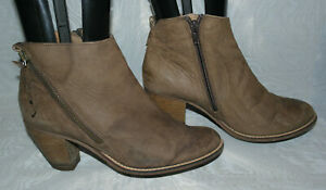 TU WOMENS BROWN ZIP LEATHER ANKLE BOOTS