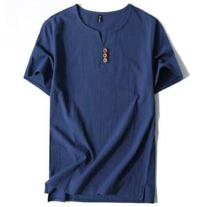 Chinese-Casual-Summer-Linen-Short-Sleeve-Shirt-V-Neck-Tops-Loose-Fit-Tee-Plus-Sz