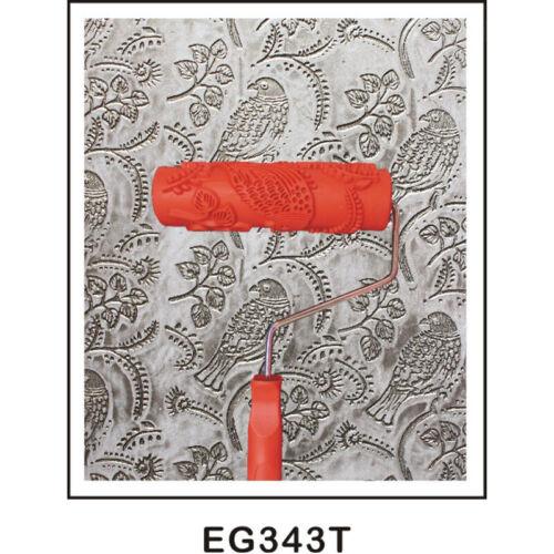"""7 /""""Gaufrage Fleur Oiseau Rouleau à Peinture avec Plastique Poignée Rouge"""