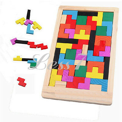 Wooden IQ Brain Puzzle Teaser Puzzle Tetris Game Preschool Children Wood Toy