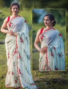 Sari Blouse Indian Wear Silk Party Wear Bridal Designer Wedding Saree Ethnic HR