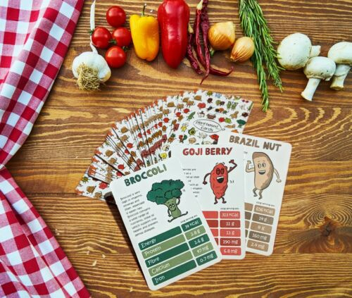 vegan top trumps card game plant based card game cute health nutrition game.
