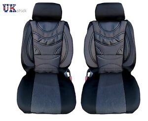 1-1-PREMIUM-BLACK-PADDED-FRONT-SEAT-COVERS-CUSHION-FOR-VAUXHALL-VIVARO-SPORTIVE