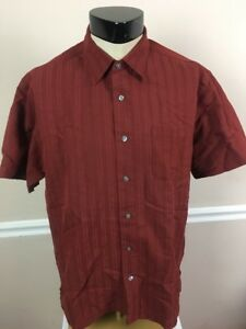 34c7ce3eda9 Van Heusen Men s 16-16 1 2 L Burgundy Short Sleeve Button Front ...