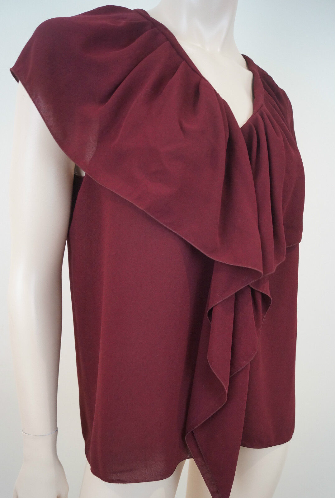LANVIN PARIS Vintage Burgundy Red Draped Pleat Ruffle Detail Sleeveless Top Sz42