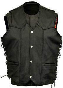 Leather-Motorbike-Waistcoat-Biker-Fashion-Vest-Laced-Sides-All-sizes