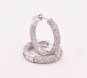 1-034-Inside-Out-Diamonique-Pave-CZ-Hoop-Earrings-14K-White-Gold-Clad-Silver-925
