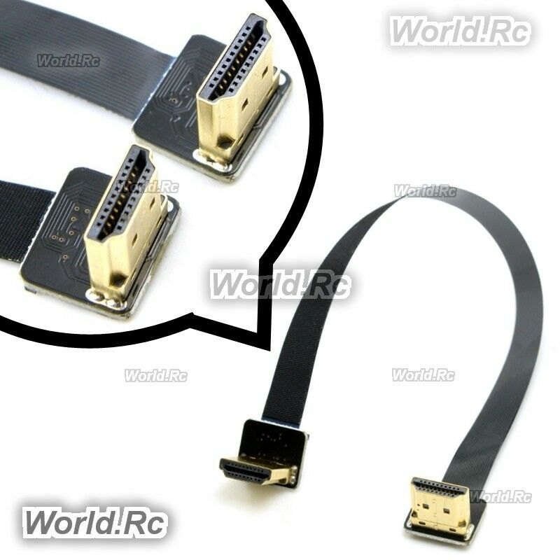 FPV Dual Up Angled 90 Degree HDMI Type A Male to Male HDTV FPC Flat Cable 20cm
