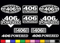 10 Decal Set 406 Ci V8 Powered Engine Sticker Emblems Bored Sbc .030 400 Decals
