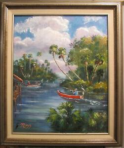 ORIGINAL-Florida-Oil-Painting-1950s-FISH-CAMP-St-Lucie-Stuart-Genuine-Mazz-Art