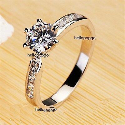 Elegant Jewelry 18K White Gold GP Swarovski Crystal Wedding Engagement Ring